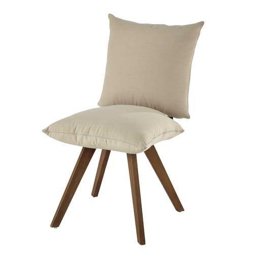 Klappstuhl holz stoff  Stuhl aus Holz mit wasserabweisendem Stoff, ecru | CHAIR - SZEK ...