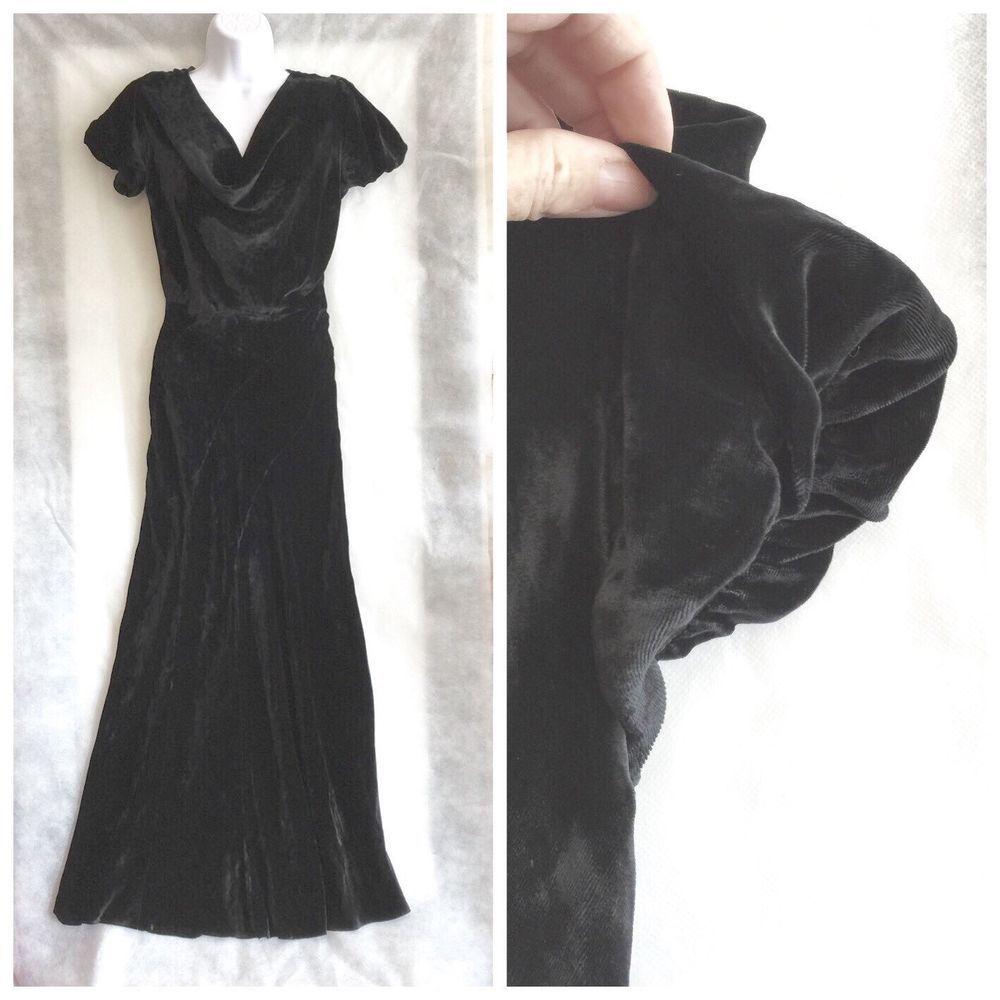 Vintage us black velvet bias cut gown dress cocktail faeries