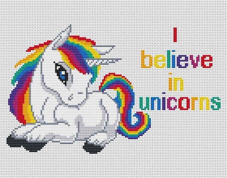 Quotes Cross Stitch-I Believe In Unicorns-Rainbow By