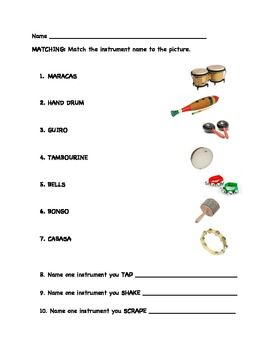 Free elementary percussion quiz- K-2 | Music Education: Handouts ...