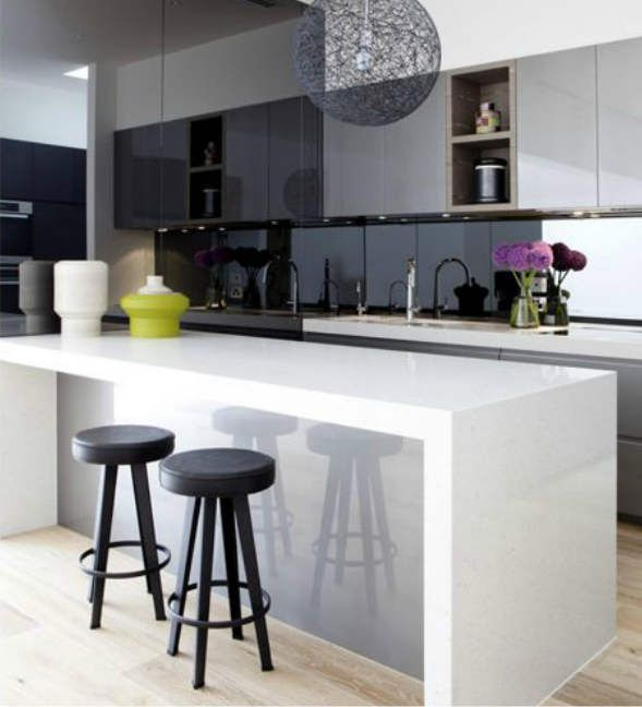 High Gloss Kitchen Island: Bold White Laquered Finish W/ A High Gloss Grey I See A