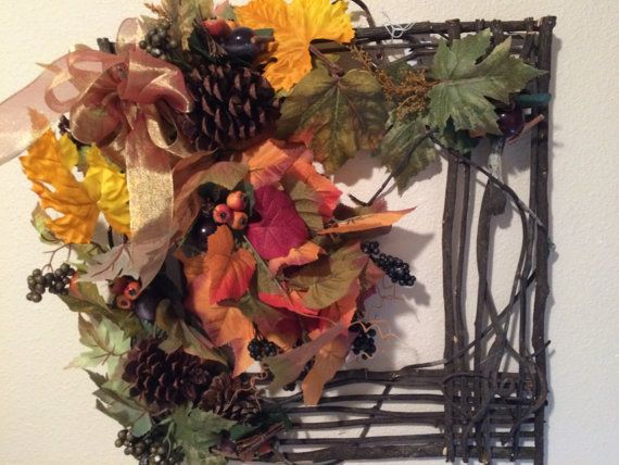 Wreath For Fall, Winery Wreath, Fall Wreath, Square Wreath, Grapevine Square ,