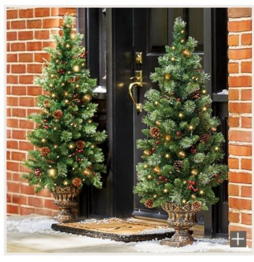 Pre Lit Christmas Tree Entryway Porch