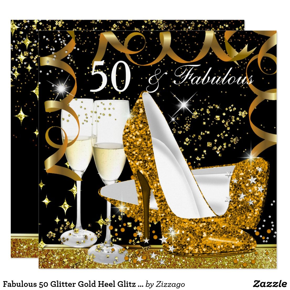 50 And Fabulous Text: Fabulous 50 Glitter Gold Heel Glitz Glam Party Invitation