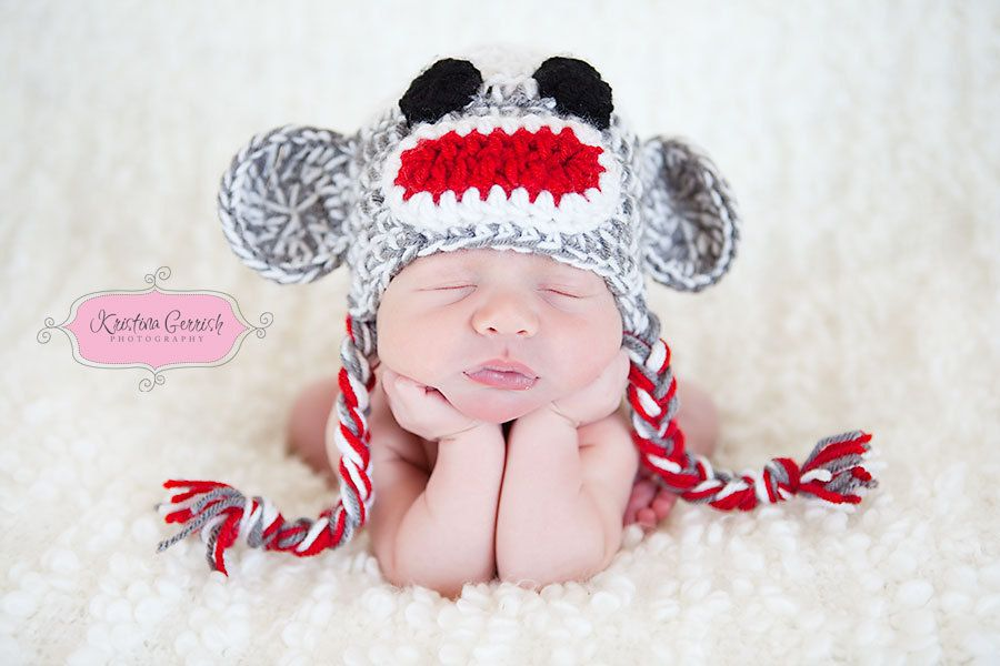 Crochet Pattern Sock Monkey Baby Hat Pdf Newborn To 3 By Tctbaby