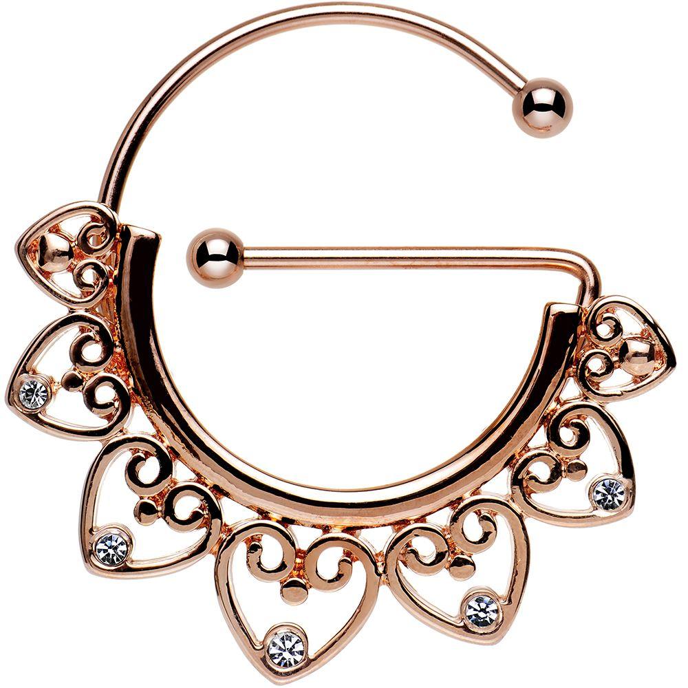 Clear Gem Rose Gold PVD Filigree Heart Universal Nipple ...