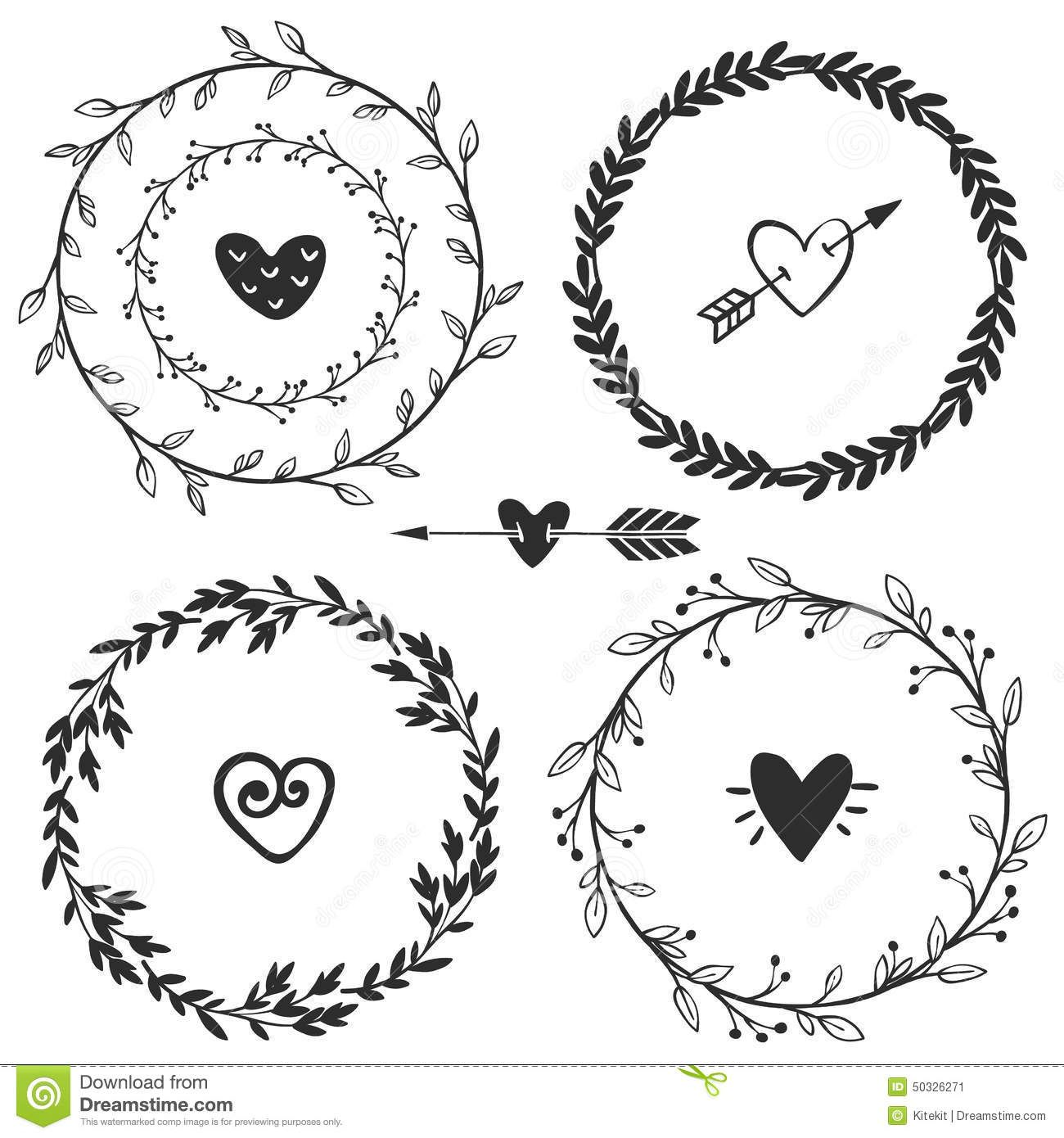 Black And White Hand Drawn Heart Graphics