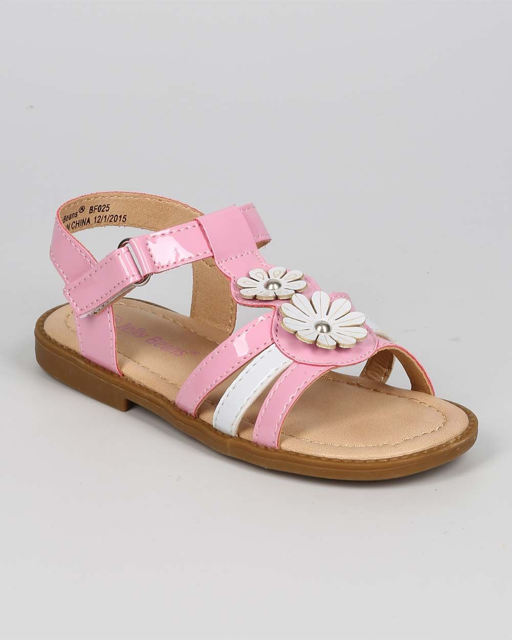 New-Girl-Jelly-Beans-Safe-Patent-Open-Toe-Two-Tone-T-Strap-Velcro-Sandal-Sz-6-11