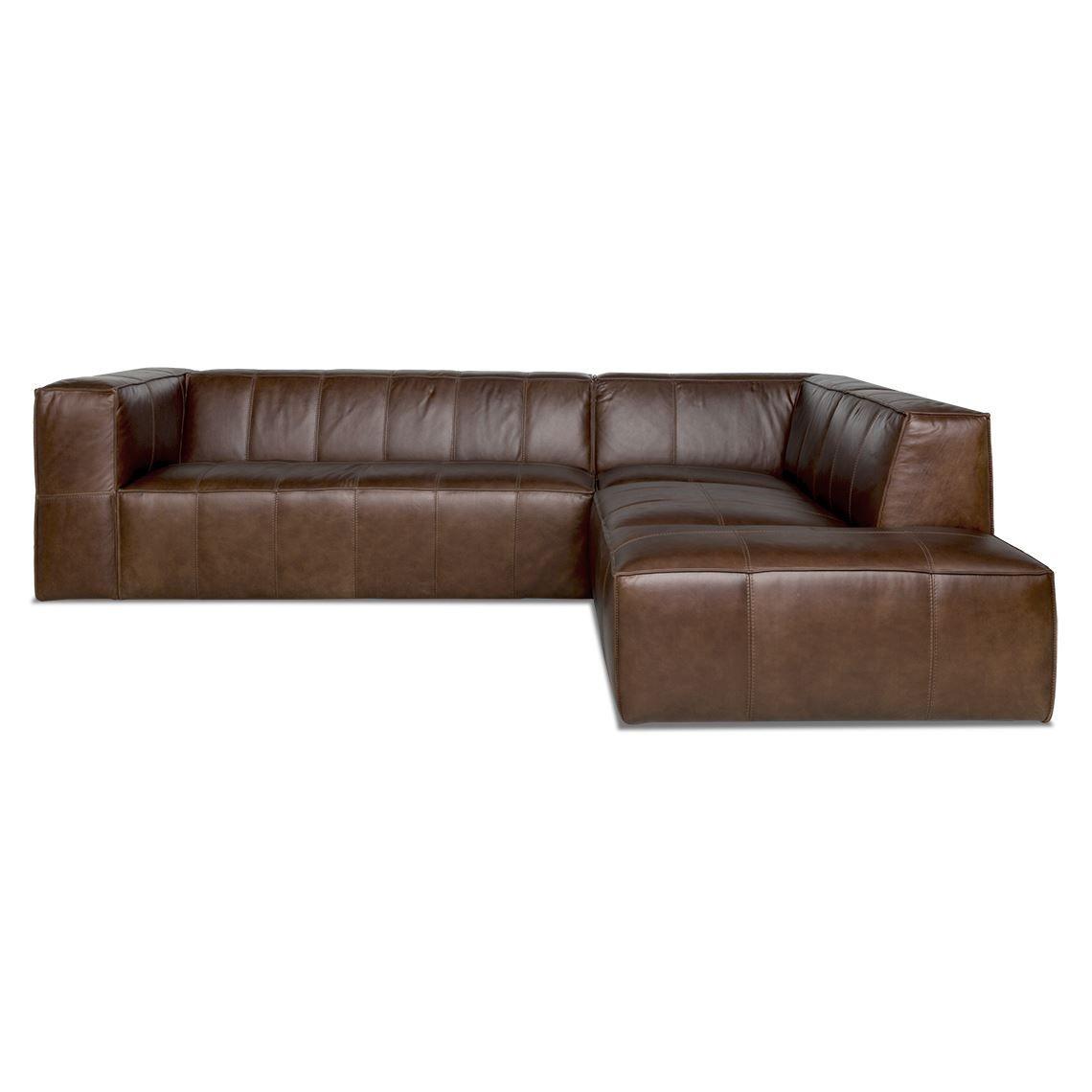 ATLAS 4 Seat Leather Corner Modular Sofa With Right Terminal ...