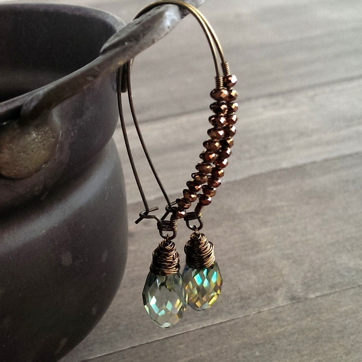 Mint green and copper earrings - crystal wire wrapped kidney wire ...