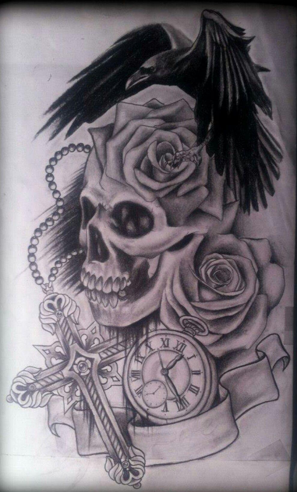 raven n skull tattoo zeichnungen pinterest tattoo uhr tattoo zeichnungen und sanduhr. Black Bedroom Furniture Sets. Home Design Ideas