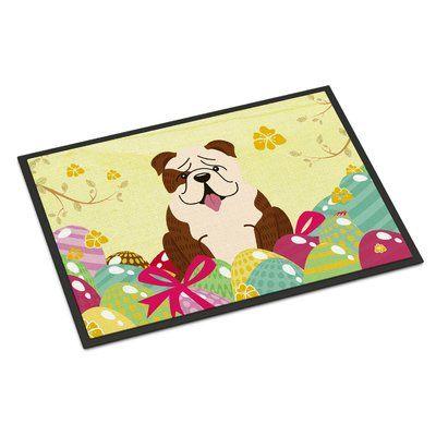 Caroline's Treasures Easter Eggs English Bulldog Indoor/Outdoor Doormat Color: