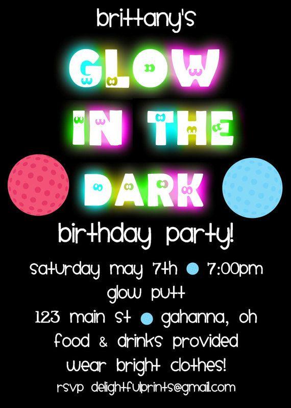 Glow In The Dark Golf Birthday Invitation
