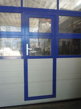 Glass Garage Door With Passing Door Full View Aluminum Carport