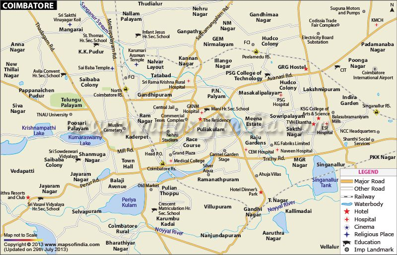 City Map of Coimbatore City Maps of India in 2019