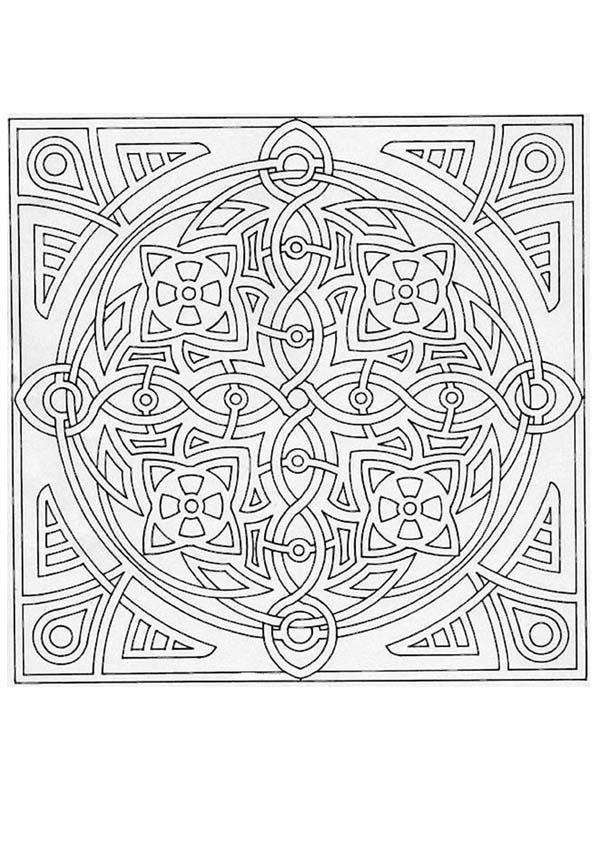 Mandala carr et g om trique tr s graphique et original - Carre magique a imprimer ...