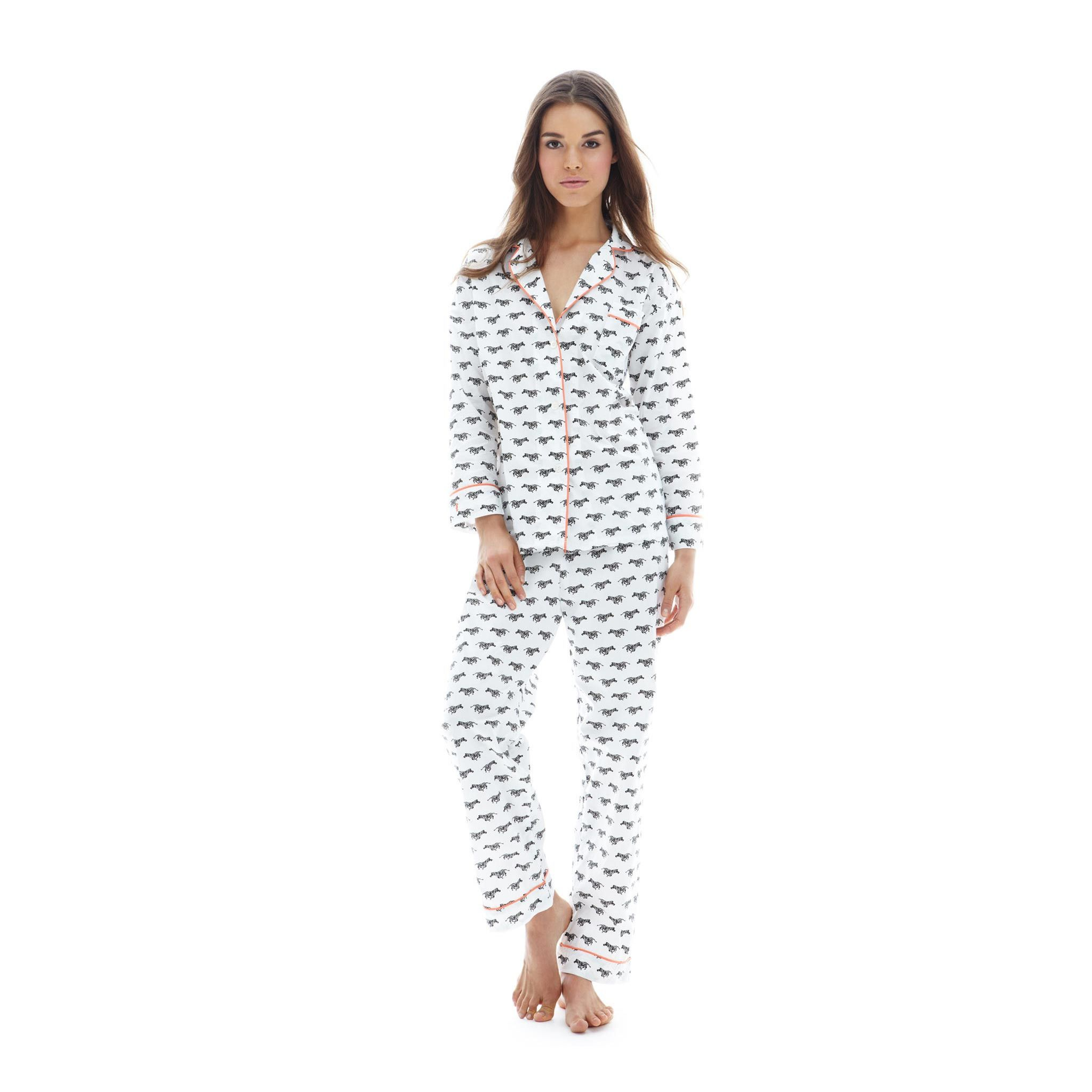 Lorient Zebra Block Print Long Pajama Set d06b879d5