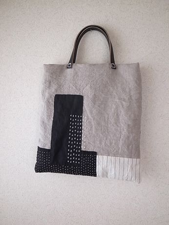 Sashiko - inspiration - making a pattern with patchwork and stitched shapes