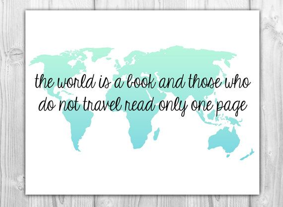 Travel quote world map art print the world is a book quotes travel quote world map art print the world is a book gumiabroncs Choice Image