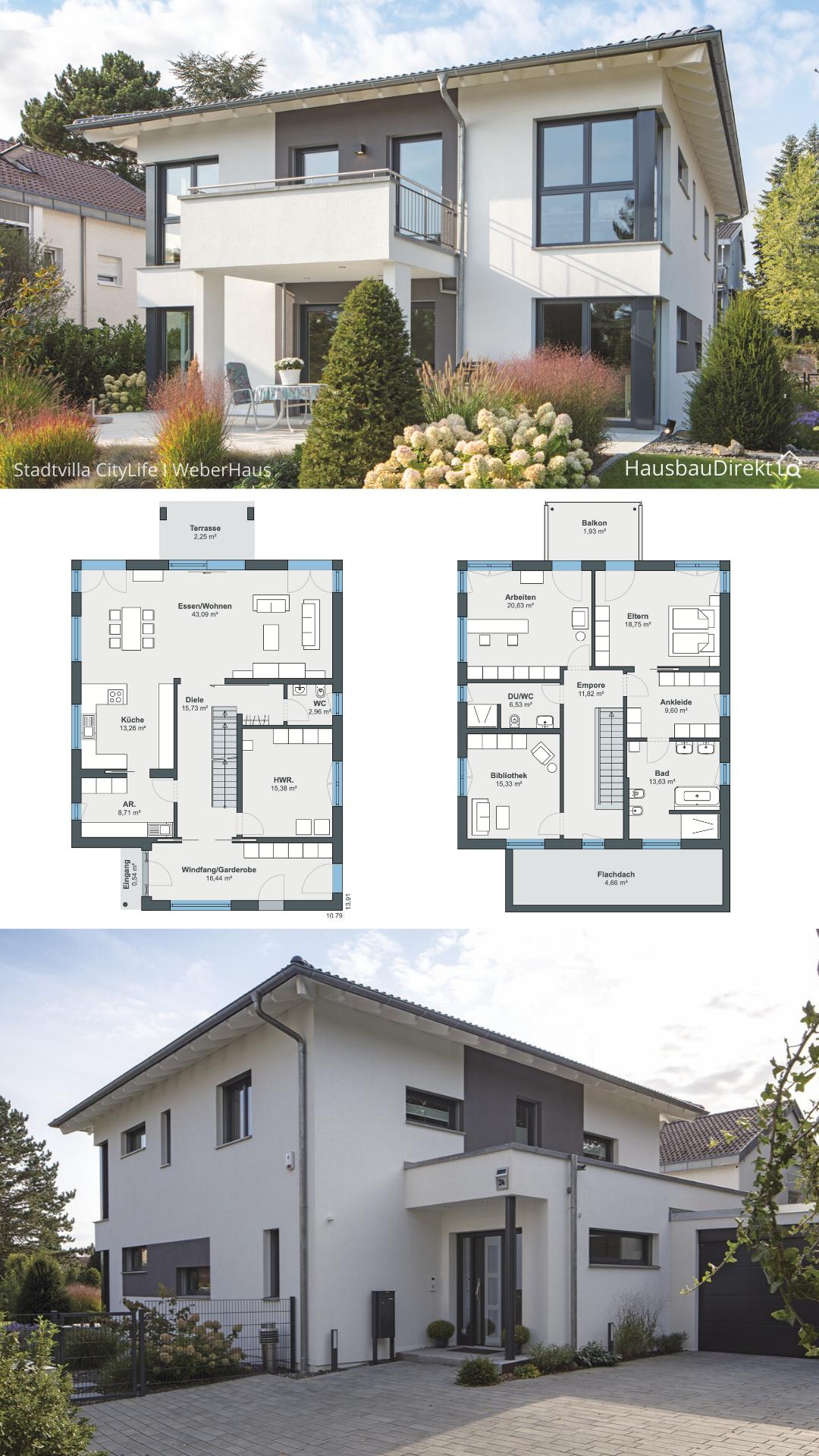 Stadtvilla modern mit Walmdach Garage & Balkon bauen Haus Grundriss Ideen 5 Zimmer 220 qm