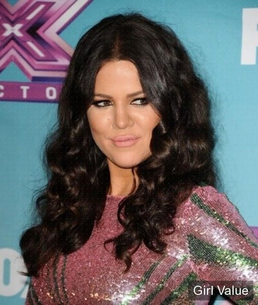 khloe kardashian dark brown long curly hair