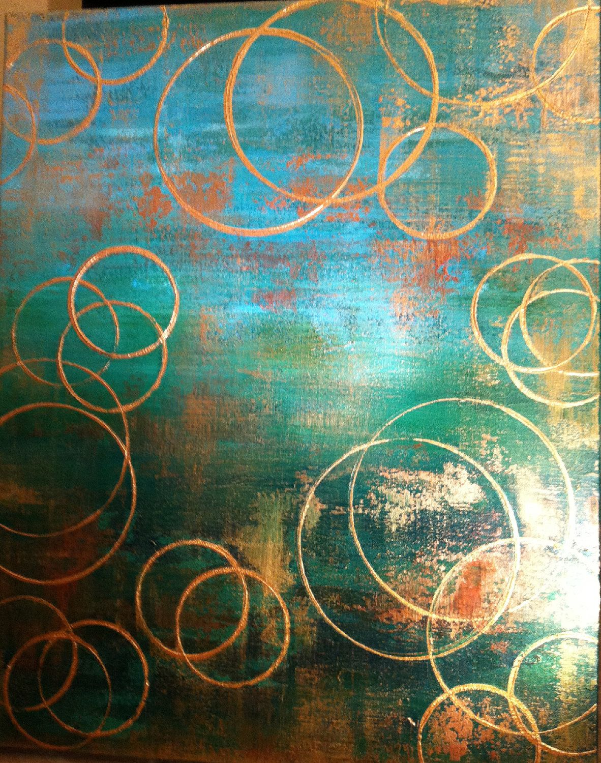 Large Emeral Green And Gold Abstract Painting By
