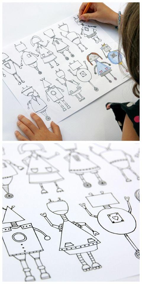 Printable Robot Coloring Page | Logopedia, Colorear y Casero