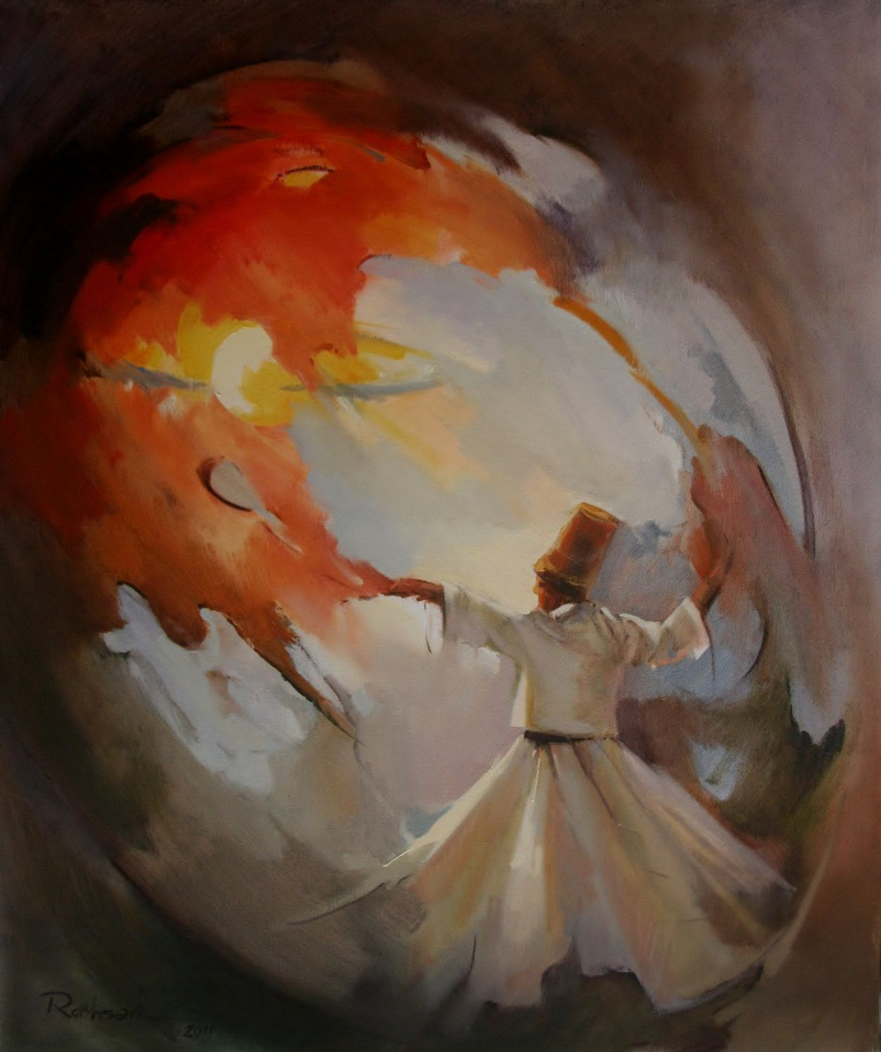 Original Abstract Oil Painting, Whirling Dervishes,Spritual Dancing of Semazen,Painting On Canvas. $250.00, via Etsy.