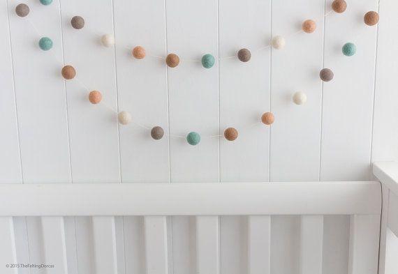 PASTEL WHITE garland Felt balls garland Baby Nursery.Kids Pom Pom Wall Decor.