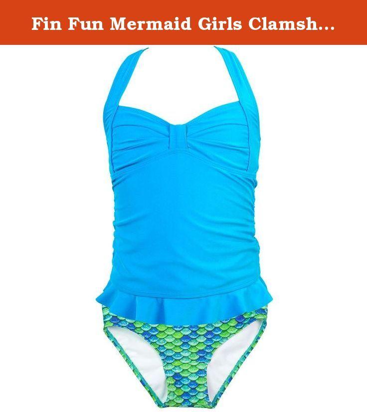 Fin Fun Mermaid Girl/'s Scale Peplum Tankini Swimsuit Set Mermaidens Swimwear