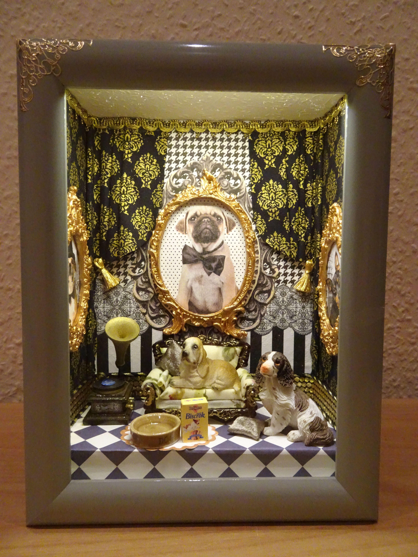 Led Lightbox 3d Accent Lamp Roombox Leuchtkasten Lichtkasten Lampe Besonderes Geschenk Miniatur Ooak Hund Ist Der Boss Led Leuchtkasten Und Leuchten