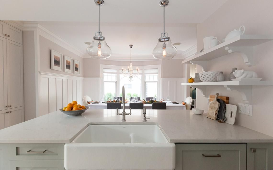 Is Extra Deep Kitchen Sink The Right Choice For You White With Floating Shelf Facing Gl Hanging Lamp Above Counter Plus