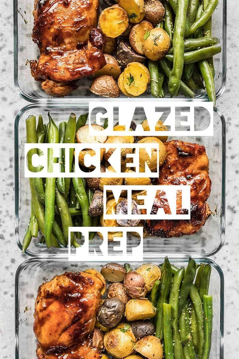 Take your meat and potatoes meal prep into the 21st century with this simple, yet elegant Glazed Chicken Meal Prep. Eating well has never been easier. Budgetbytes.com #mealprep #mealprepsunday #mealprepideas #lunchideas #lunchinspo #leftovers #easymeal #yummy