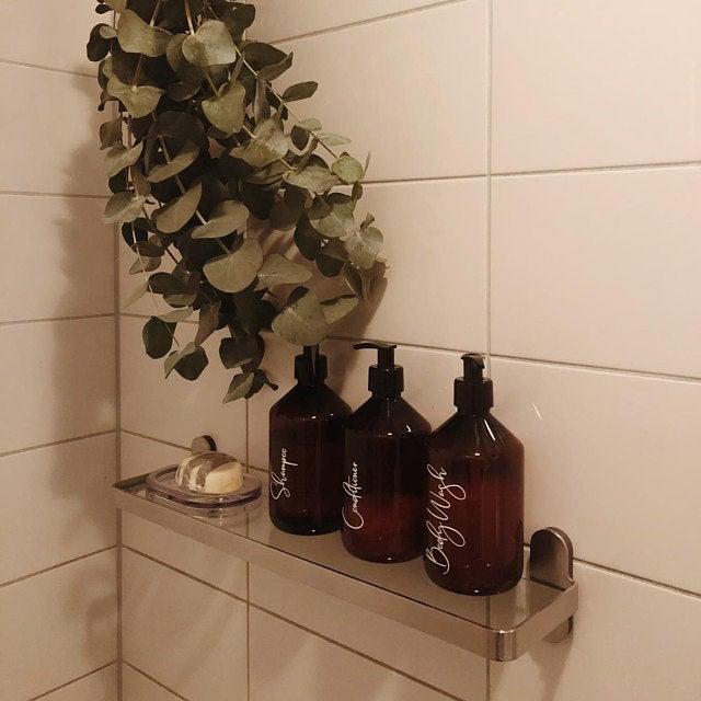 Bathroom Storage Decal Stickers For Shampoo Conditioner Body Wash Bathroom Body Conditioner Decal Shampoo S In 2020 Bathroom Storage Vinyl Storage Body Wash