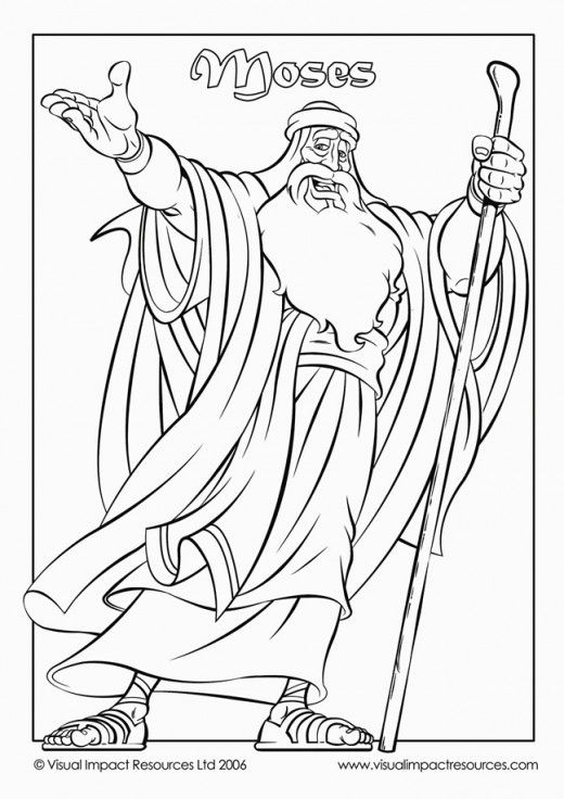Moses holding a staff in his hand