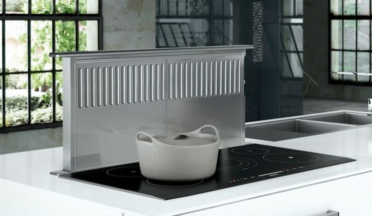 How To Keep A Kitchen Looking Open Airy And Well Ventilated Meet The Range Hood Alternative The Pop Up Sto Kitchen Vent Kitchen Exhaust Exhaust Fan Kitchen