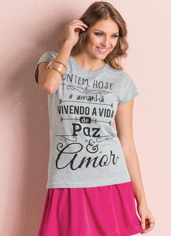 T-Shirt (Mescla) com Estampa Frontal Queima De Estoque 5107a30f33d8f