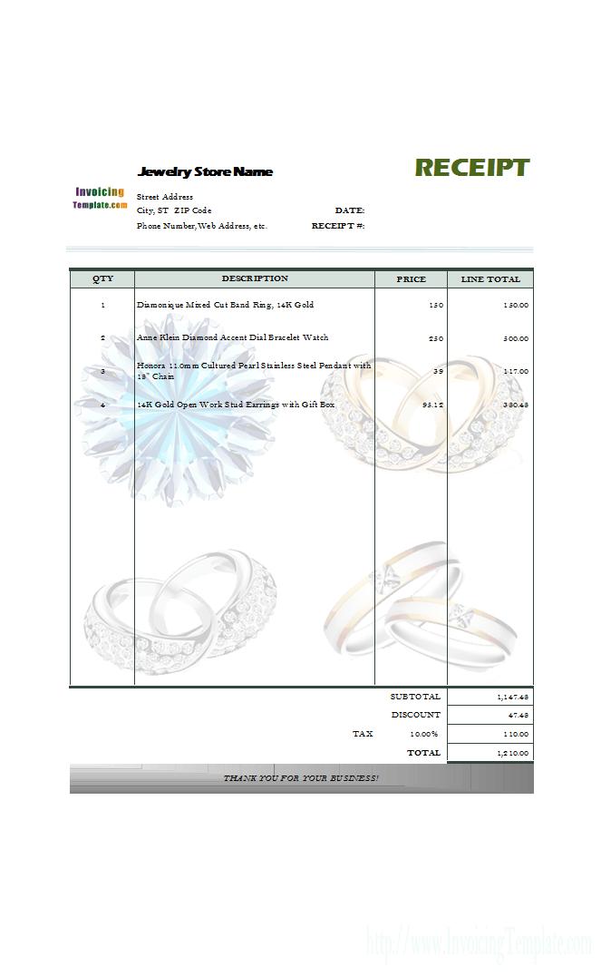 Jewelry Receipt Template Receipt Template Invoice Template Word Invoice Template