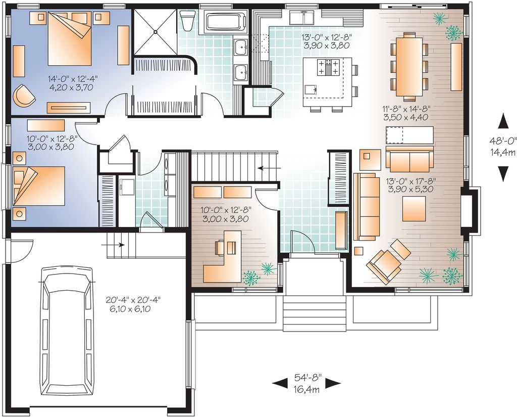 Contemporary houseplan urban design floor plan plan 23 for 9 ft wide living room