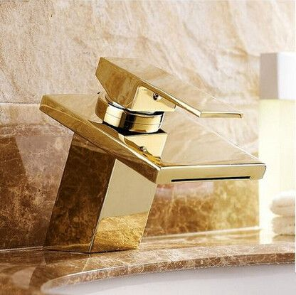 Hot Sale Brass Gold Bathroom Sink Faucet Waterfall Mixer Faucet ...