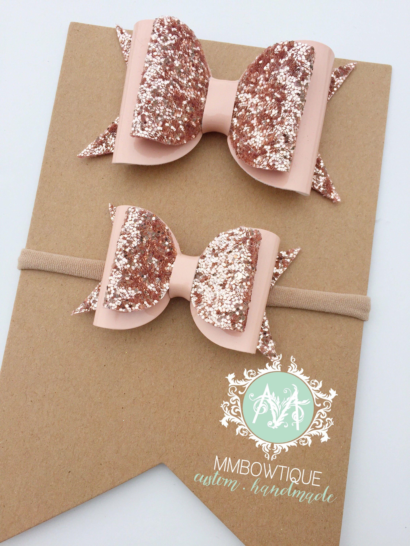 "Handmade rose gold /& baby pink glitter bows baby//girls 3/"" hair clip or headband"