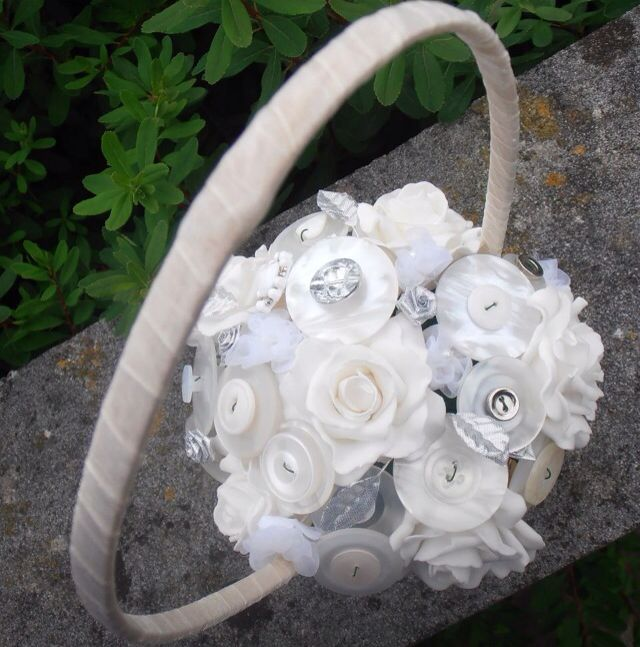 Ivory and silver button basket suitable for a flower girl :)