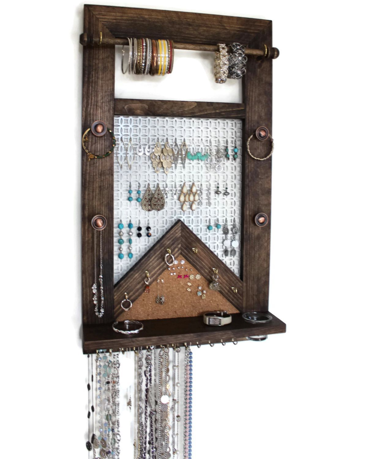 All-in-One Jewelry Organizer Wooden Wall by TheWoodenCorner |Wooden Wall Jewelry Organizer