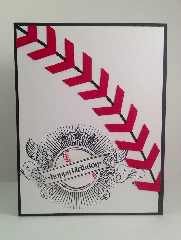Stampin Up Baseball Punch Art Masculine Birthday Card Made Wgreat