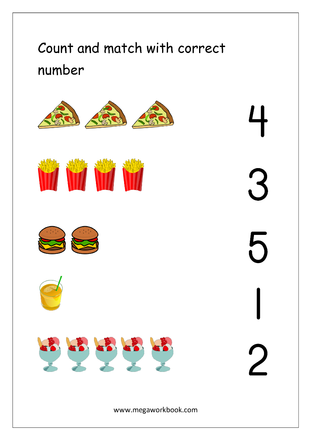 Math Worksheet Count And Match With Number 1 5 Kindergarten Math Worksheets Preschool Math Worksheets Math Activities Preschool
