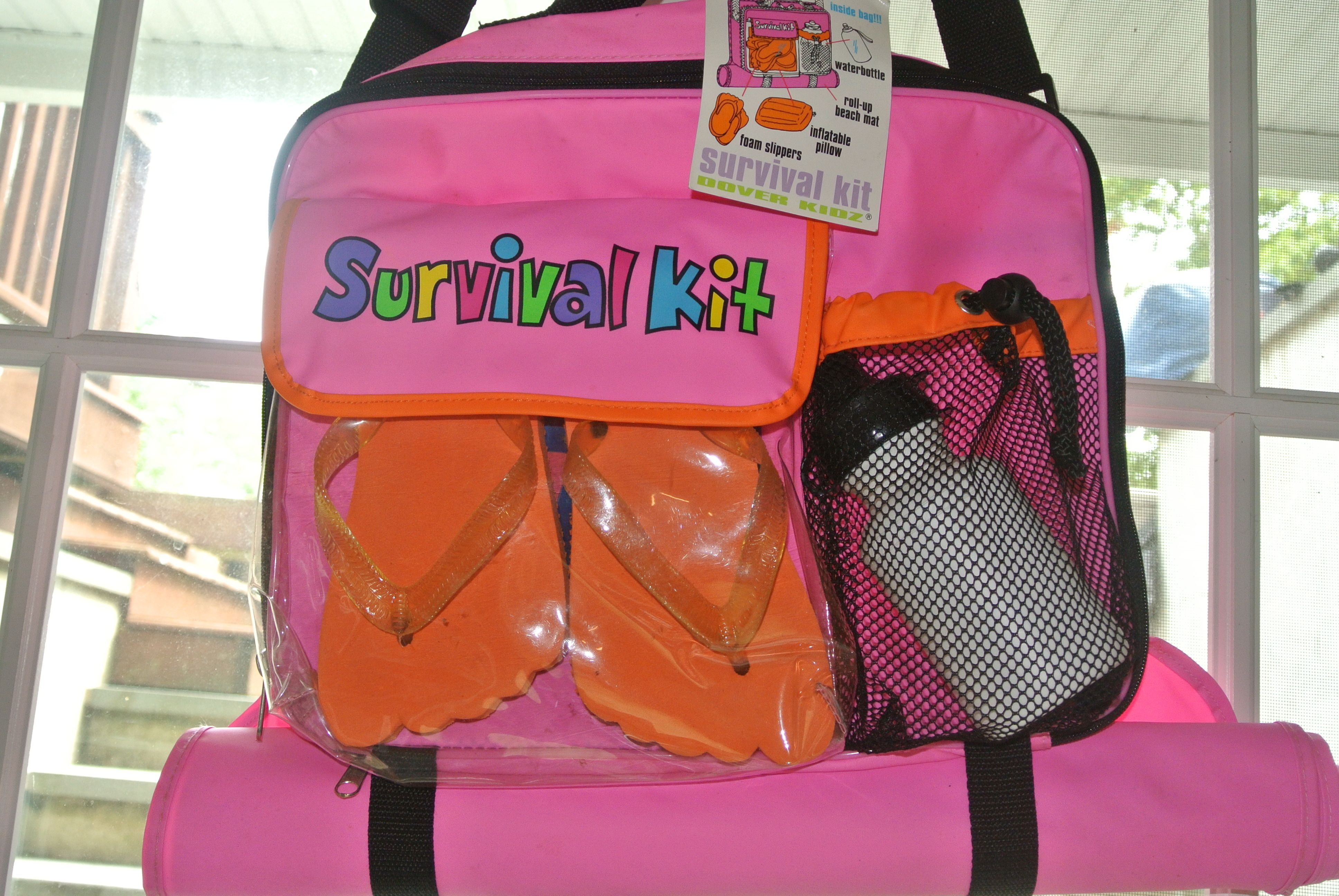 Girls Survival Kit For Beach Includes Water Bottle Flip Flops Inflatable Pillow And Attached Fold Out Mat To A Girl Survival Kits Survival Island Survival