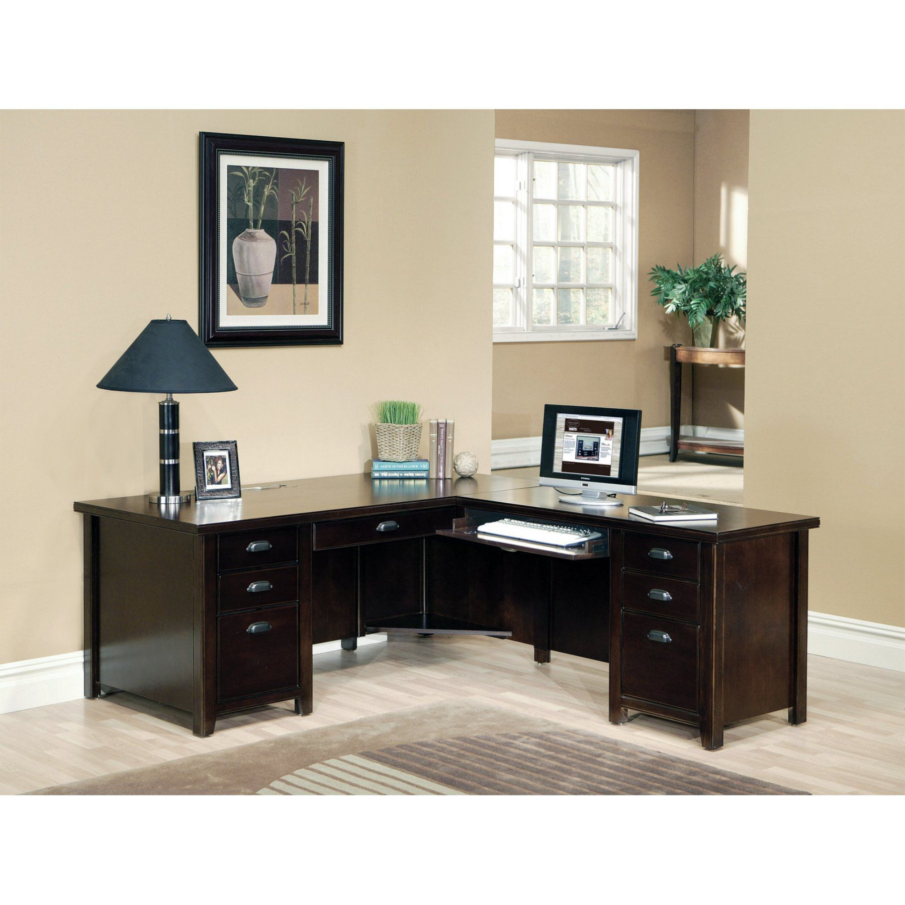 kathy ireland Home by Martin Tribeca Loft Cherry L-Shaped Desk ...
