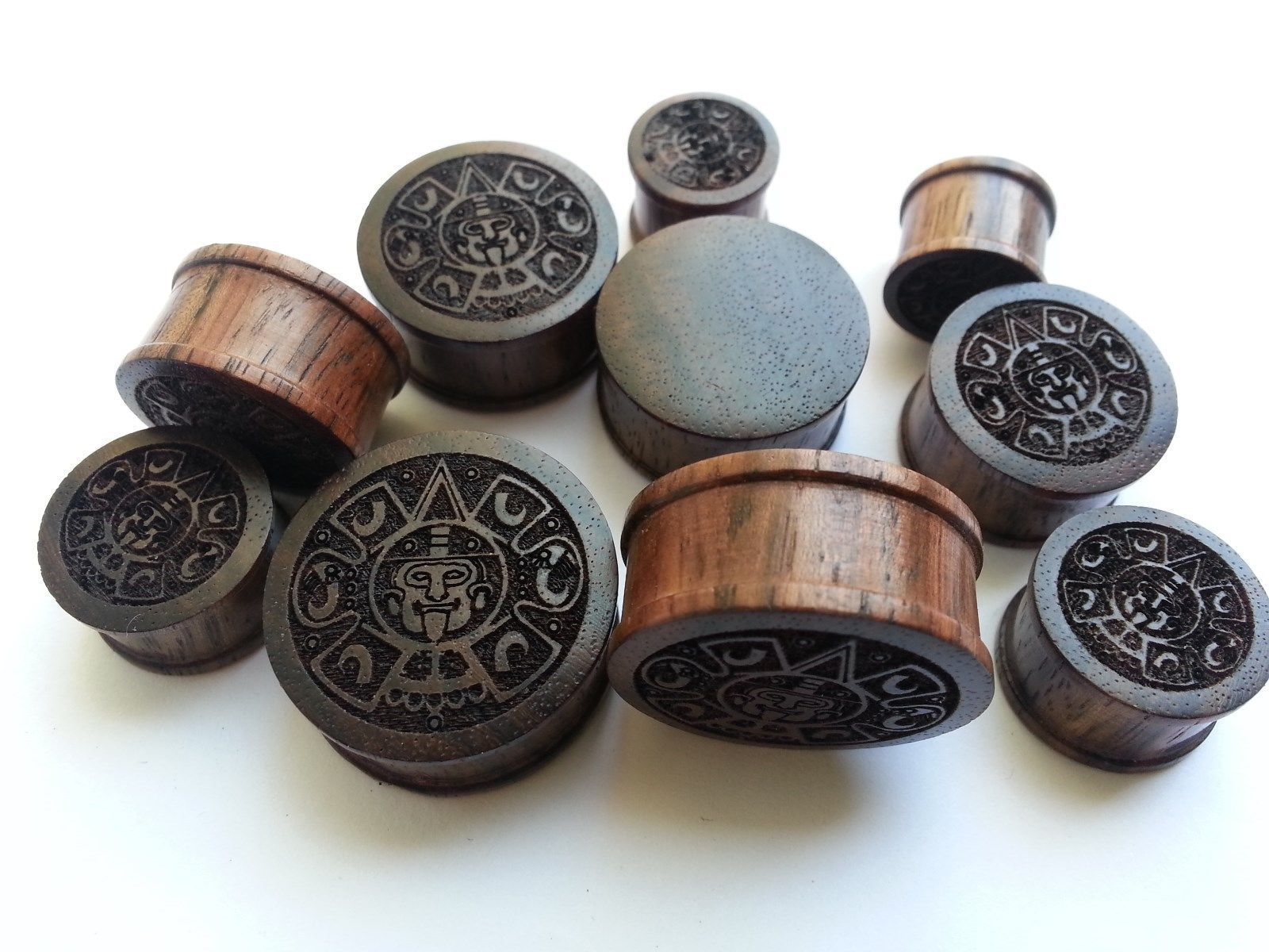 Pair of Vintage Compass Brown Wooden Saddle Flesh Ear Plugs Tunnels 8mm 25mm