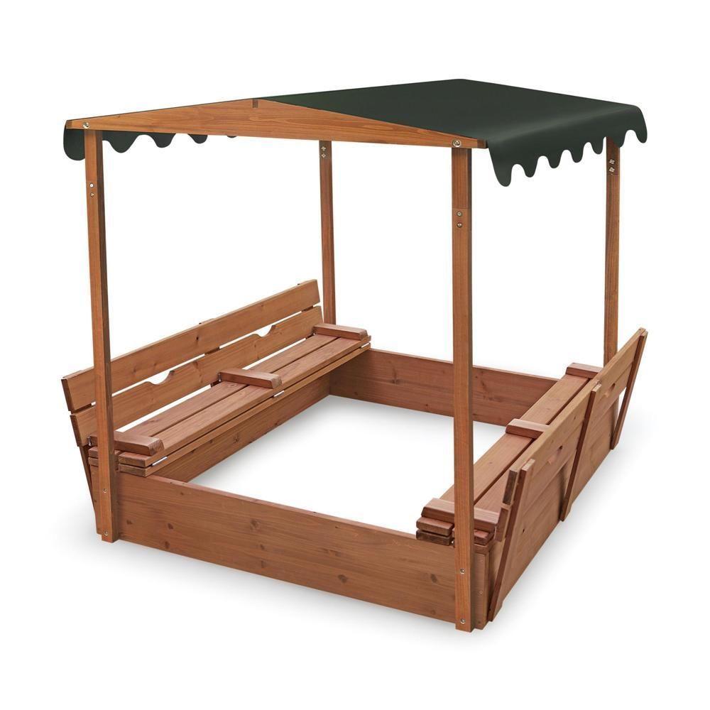 Covered Convertible Cedar Sandbox W Canopy Two Bench Seats