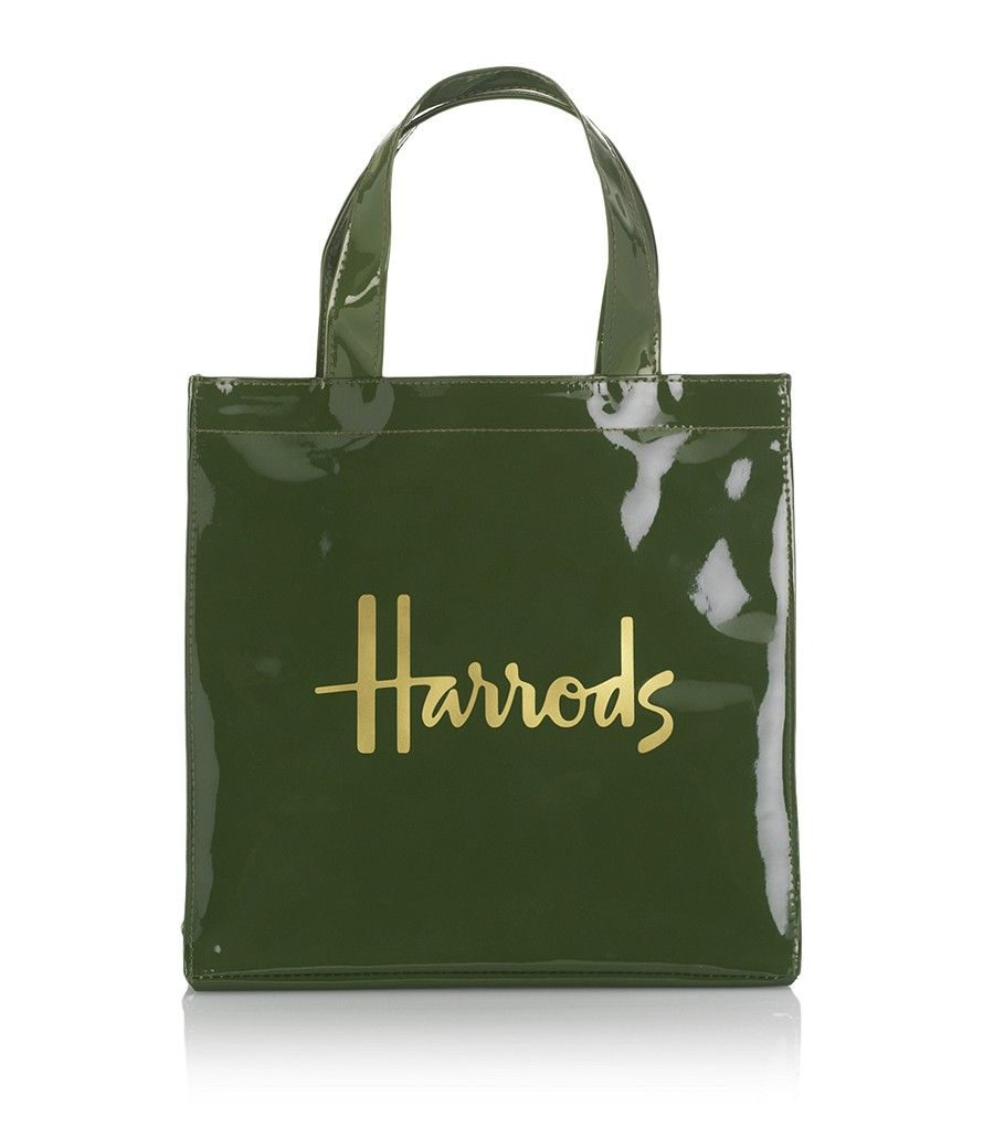 Details about HARRODS FAMOUS GREEN AND BLACK SHOPPING TOTE BAGS ...